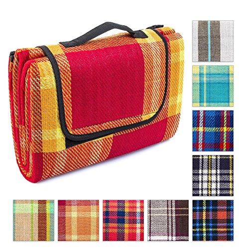 Relaxdays-Picknickdecke-isoliert-170-x-135-cm-Polyester-Stranddecke-wasserabweisend-tragbar-Reisedecke-Karomuster-Stranddecke-in-verschiedenen-Mustern