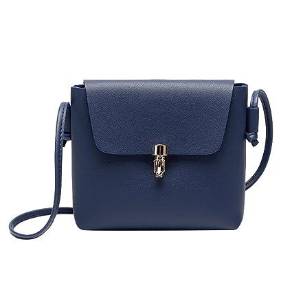 Cartera de mujer, RETUROMBolso de la moneda del teléfono de la bolsa de mensajero del cerrojo de la cubierta de la manera de la moda de las mujeres (Azul): ...