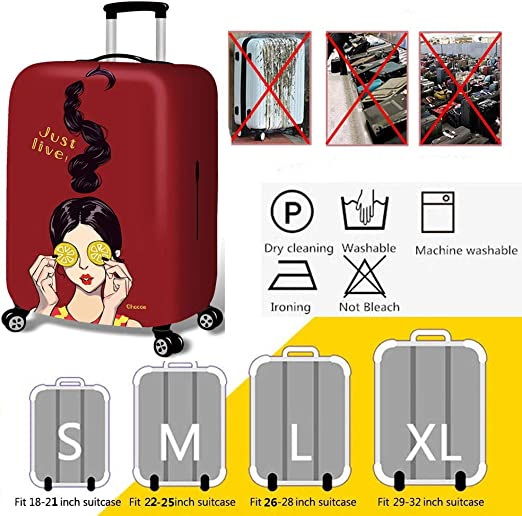 Hbwz Luggage Cover,Protective Washable Suitcase Cover Travel Elastic Spandex Suitcase Protector Fits 18 to 32 Inch Luggage,lemongirl,M