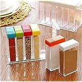 Transparent Spice Jar Seasoning Kitchen Condiment Box Acrylic Seasoning Storage Box 6Pcs/Set
