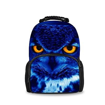 HUGS IDEA 3D Animals Owl Backpack Men Travel Sports School Shoulder Bag