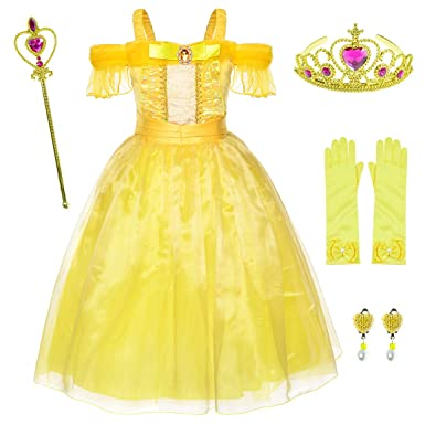 409efb62d431 Amazon.com: Yellow Dress Princess Belle Costume Girls Birthday Party Dress  Up with Accessories Age 2-12 Years: Clothing
