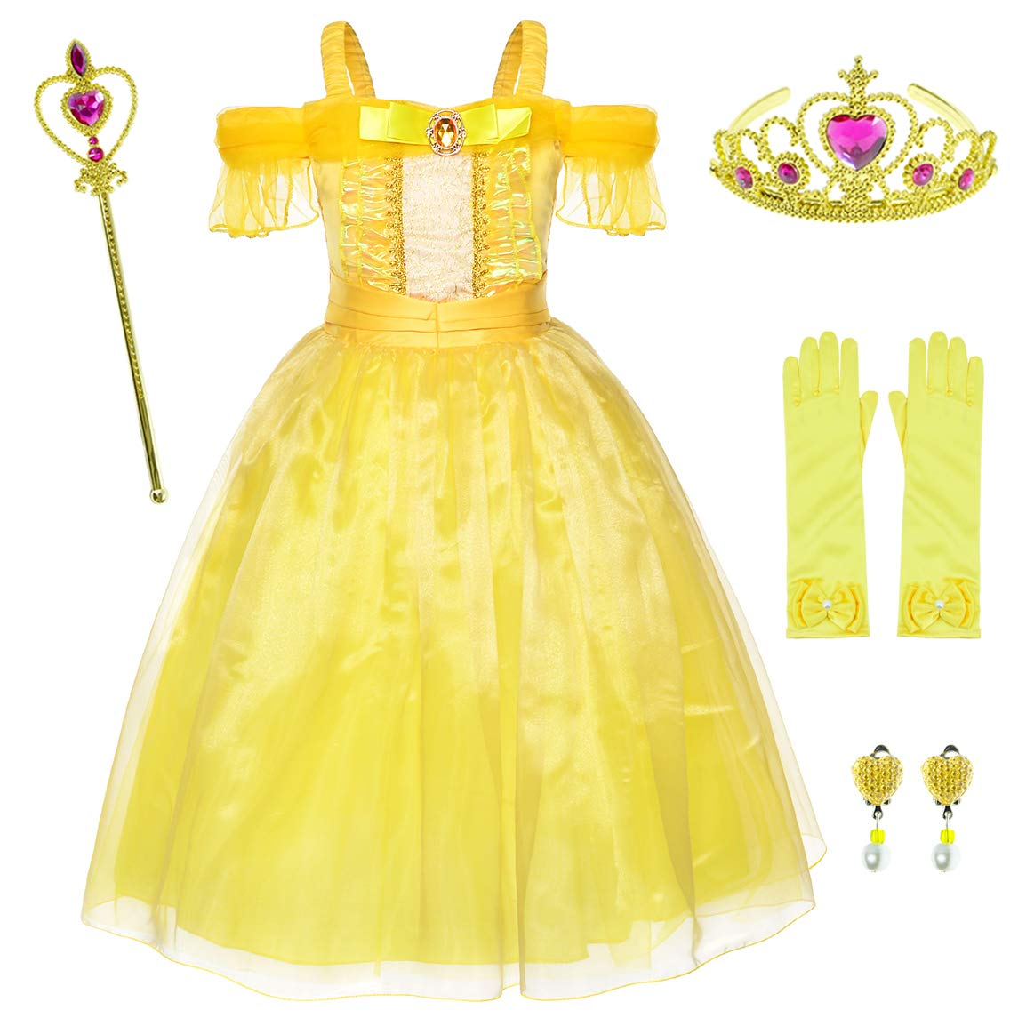 Yellow Dress Princess Belle Costume Girls Birthday Party Dress Up With Accessories 4-5 Years (Style2 110CM)