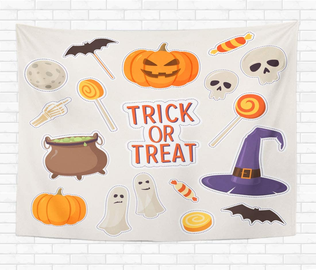 Topyee 50x60 Inch Tapestry Wall Hanging Set of Stickers on Theme of Halloween Skulls Ghosts Candy Pumpkins Hat and Cauldron Home Decorative Tapestries Wall Blanket for Dorm Living Room Bedroom