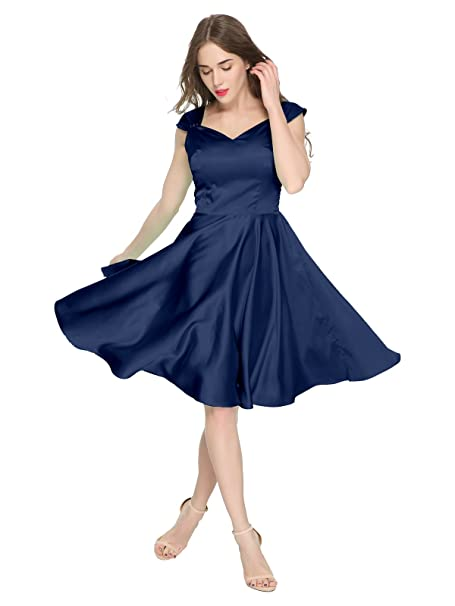 40dd8e65f42 Maggie Tang Women s 1950s Vintage Rockabilly Capshoulder Swing Dress NB S  at Amazon Women s Clothing store