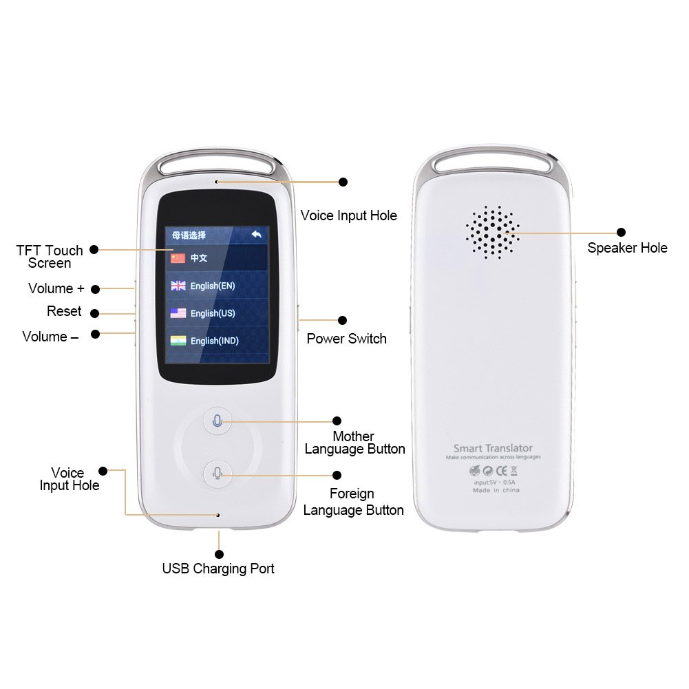 Yosoo- 2.4-inch TFT Touch Screen Handheld Small and Exquisite Smart Real Time WIFI Voice Translator 18 Languages Multilingual Travel Translator Ideal Choice for Senior Citizens (白色) by Yosoo- (Image #2)