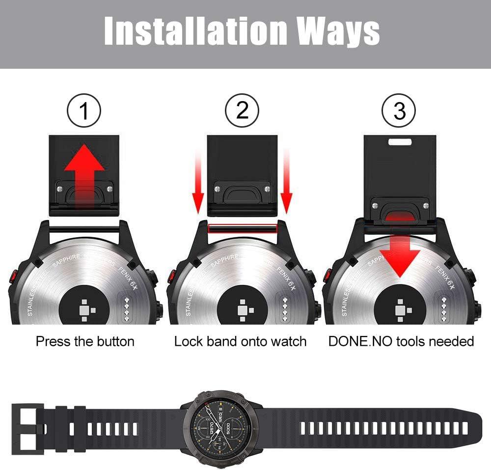 Bracelet de Remplacement Lib/ération Rapide en 26 mm pour Fenix 6X Pro//Fenix 6X Sapphire//Fenix 5X //Fenix 5X Plus//Fenix 3 //Fenix 3HR SUPORE Bracelet Fenix 6