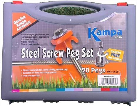"""KAMPA Glow in the dark SCREW BIVVY PEG SET 22.5 CM 9/"""" 14 tent pegs Camping"""