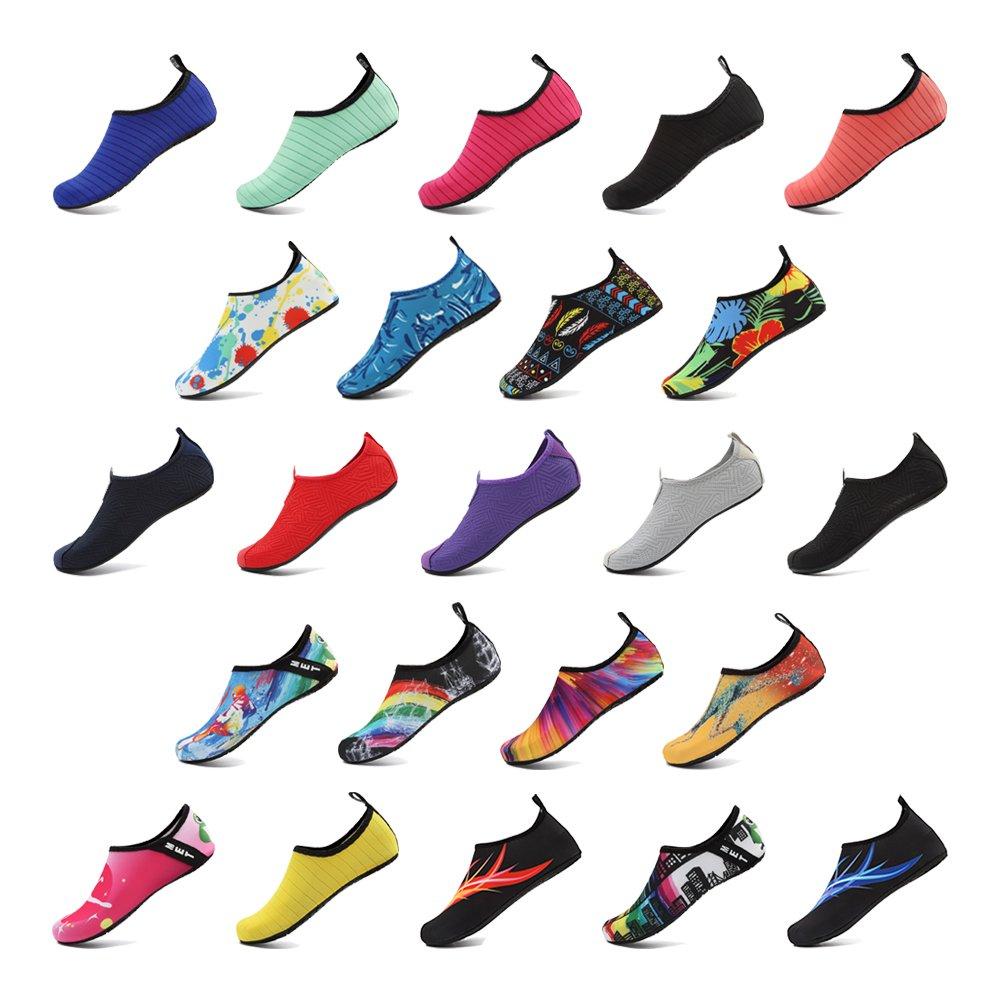 HooyFeel zapatos de agua de secado rápido antideslizante piel Aqua Yoga  calcetines descalzos zapatos de playa para hombres y mujeres Tinta de color 64062aca477