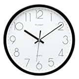 [Upgrade Version] Plumeet 12-Inch Non-Ticking Silent Wall Clock with Modern and Nice Design for Living Room Large Kitchen Wall Clock Battery Operated (Black)