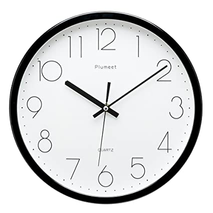 Perfect Plumeet [Upgrade Version] 12 Inch Non Ticking Silent Wall Clock With Modern
