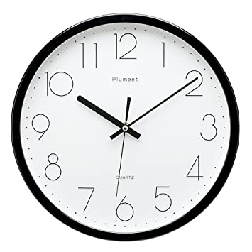 [Upgrade Version] Plumeet 12 Inch Non Ticking Silent Wall Clock With Modern