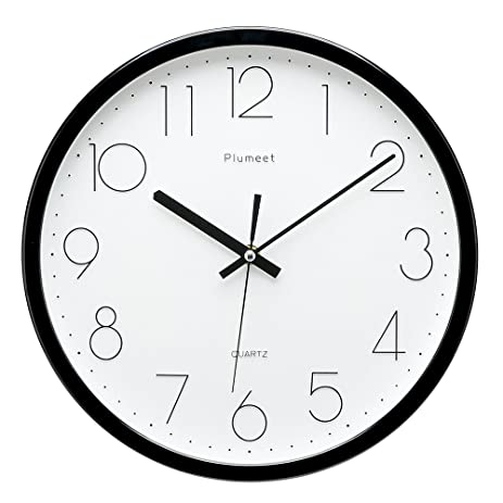Upgrade Version Plumeet 12 Inch Non Ticking Silent Wall Clock With Modern