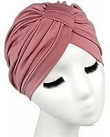 QHGstore delle donne Soild Colore dei capelli Wrap coprire indiani Turban dei cappelli di Modal Cachi