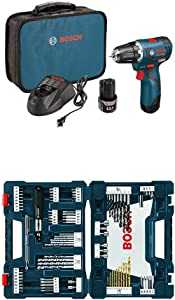 Bosch PS32-02 12-volt Max Brushless 3/8-Inch Drill/Driver Kit with 2.0Ah Batteries, Charger and Case w/ 91 pc drill and drive bit set