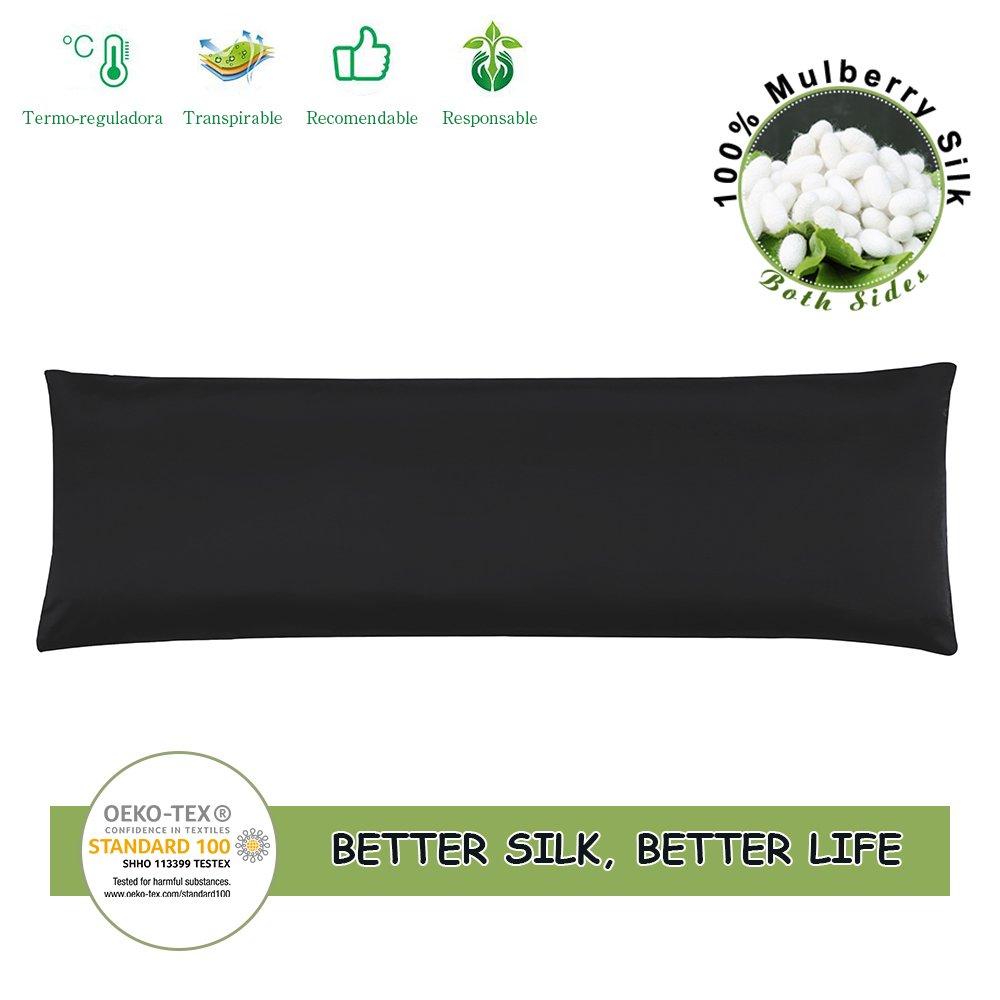 LilySilk Silk Body Pillowcase Long, 100% Silk, 19 Momme, Zippered Body Pillow Cover (20 x 54, Black)