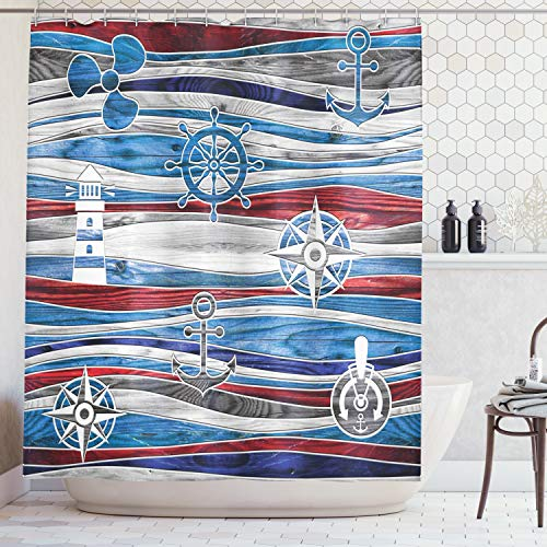 (Ambesonne Anchor Decor Collection, Shipping Boat Anchor Lighthouse Steering Wheel Compass Waves Background Image, Polyester Fabric Bathroom Shower Curtain Set with Hooks, Red Navy Blue Grey )