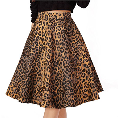 (Musever Women's Pleated Vintage Skirts Floral Print Casual Midi Skirt Leopard)
