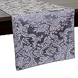 Ultimate Textile Miranda 14 x 108-Inch Damask Table Runner Pewter Grey