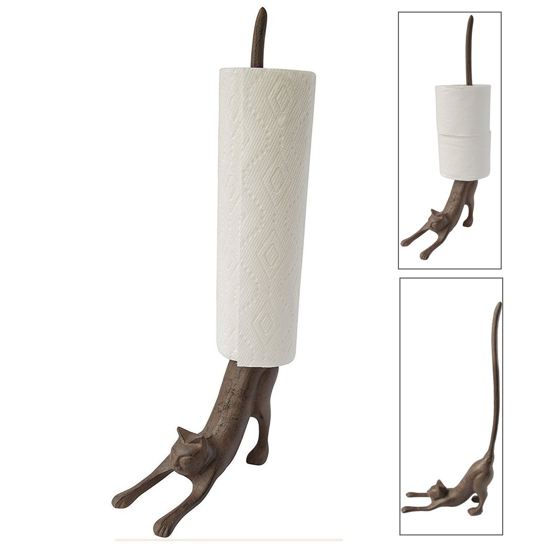 Paper Towel Holder Cat Lover Iron Toilet Stand Home Kitchen Decor Decorative  New