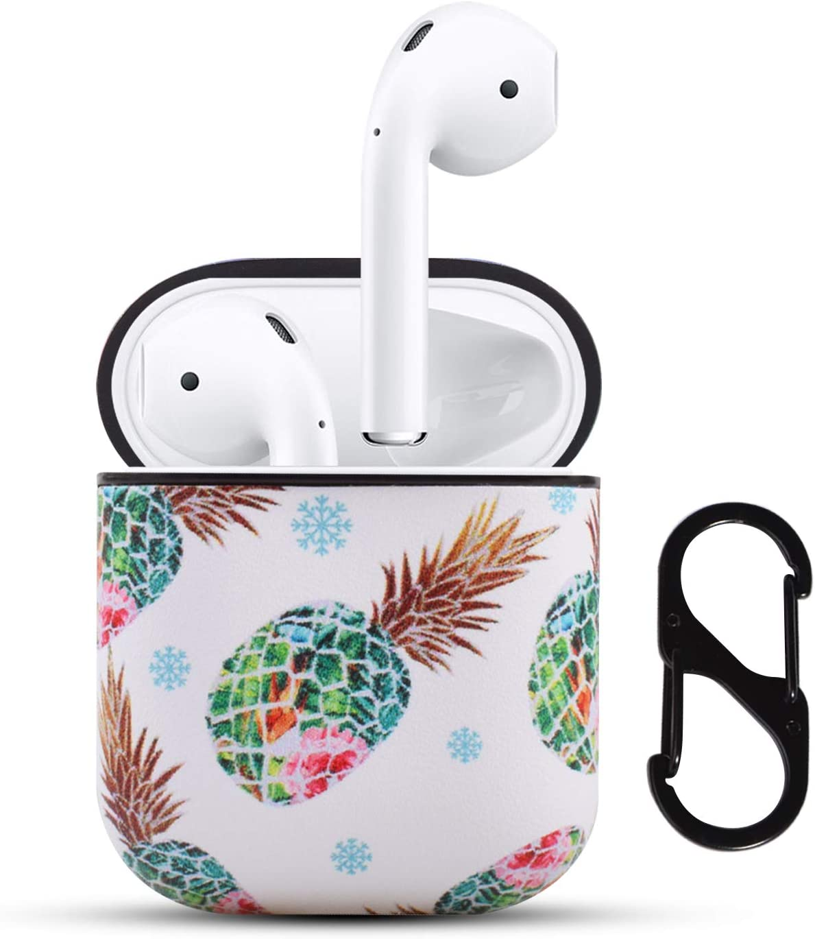 HIDAHE AirPods Case,AirPods 2 Case, AirPods Cover Cute Floral Pineapple Pattern Leather AirPod Accessories Kit Skin for Women Kid Compatiable with Apple AirPods 1st/2nd Charging Case, Green Pineapple