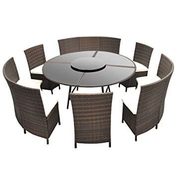 vidaXL Salon de Jardin Poly Rotin Marron 12 Personnes Table Ronde ...