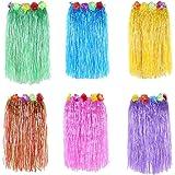 NEWCREATIVETOP 24 Adult's Flowered Luau Hula Skirts Pack of 6Assorted Colors
