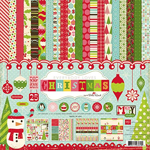 Echo Park - Everybody Loves Christmas Collection Scrapbooking Kit by Bella Road - Featuring Santa Claus, Snowmen, Ornaments, Reindeer, Christmas Trees, Snowflakes, and Holly - Item #: ELC6016TM