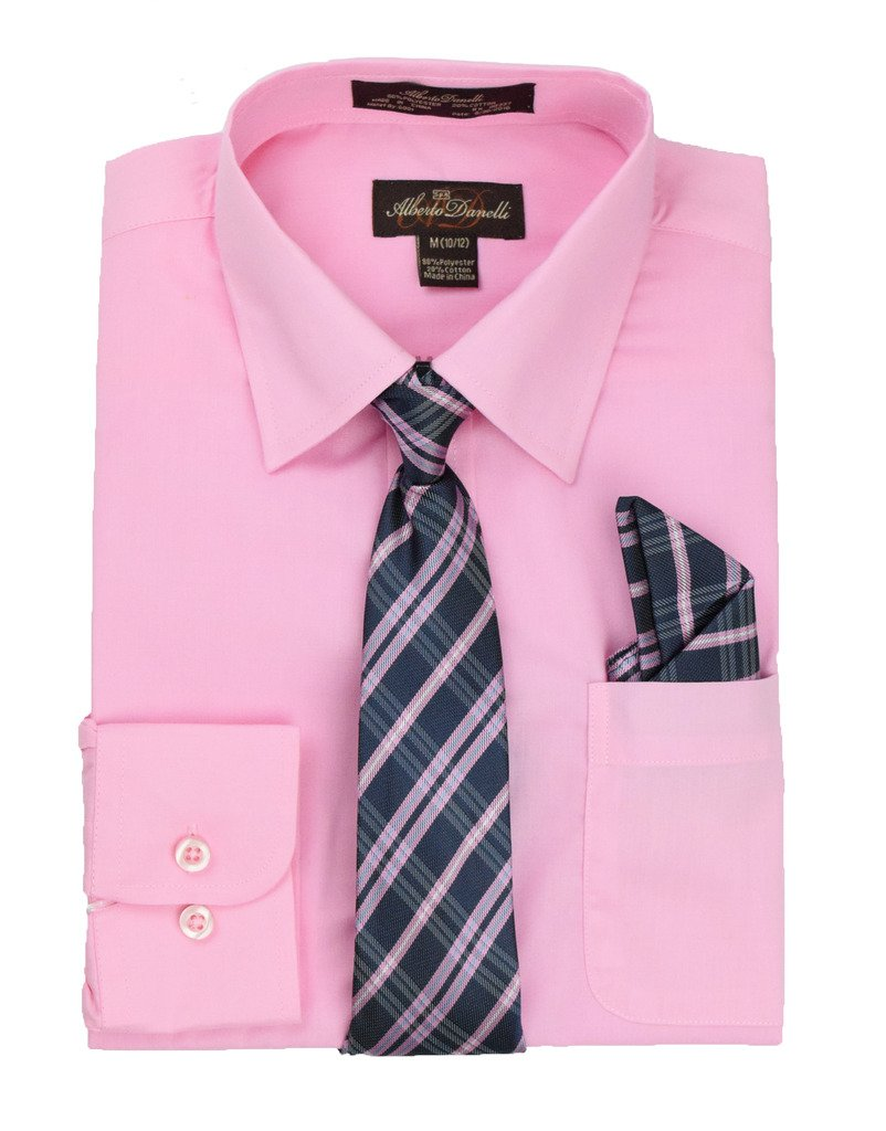 Alberto Danelli's Boys Long Sleeve Dress Shirt with Matching Tie and Handkerchief, 14/16, Blush