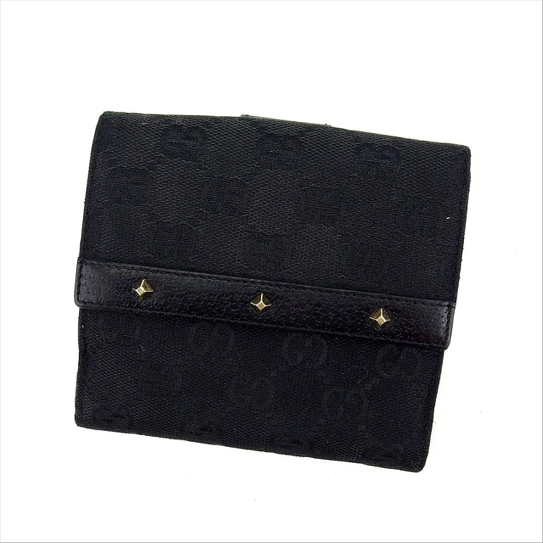 [グッチ] GUCCI Wホック財布 二つ折り財布 スタッズ付き 120922 GGキャンバス 中古 C2492 B01LYVLO2A