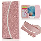 LCHULLE For iPhone 5/5S/SE Case, Luxury Bling Glitter Contrast Color Texture PU Leather Flip Case, Handbag Style with Magnetic Wallet Card Soft TPU Silicone Cover-Rose Gold