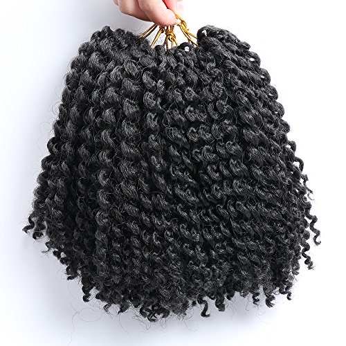 6 Packs Marlybob crochet hair afro kinky curly hair crochet braids curly wave crochet braiding hair synthetic hair extension (1B#) by wowbeautywigs (Image #1)