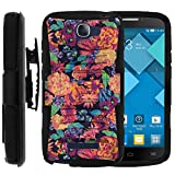 Alcatel POP ICON Case, Alcatel POP ICON Holster, Two Layer Hybrid Armor Hard Cover with Built in Kickstand for Alcatel One Touch Fierce 2 7040T, Alcatel POP ICON A564C (T Mobile, Metro PCS, Straight Talk) from MINITURTLE | Includes Screen Protector - Floral Dream