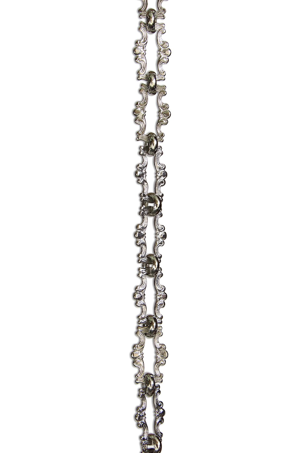 RCH Hardware CH-02-PN Decorative Polished Nickel Solid Brass Chain for Hanging, Lighting - Motif Welded Links (1 Foot)