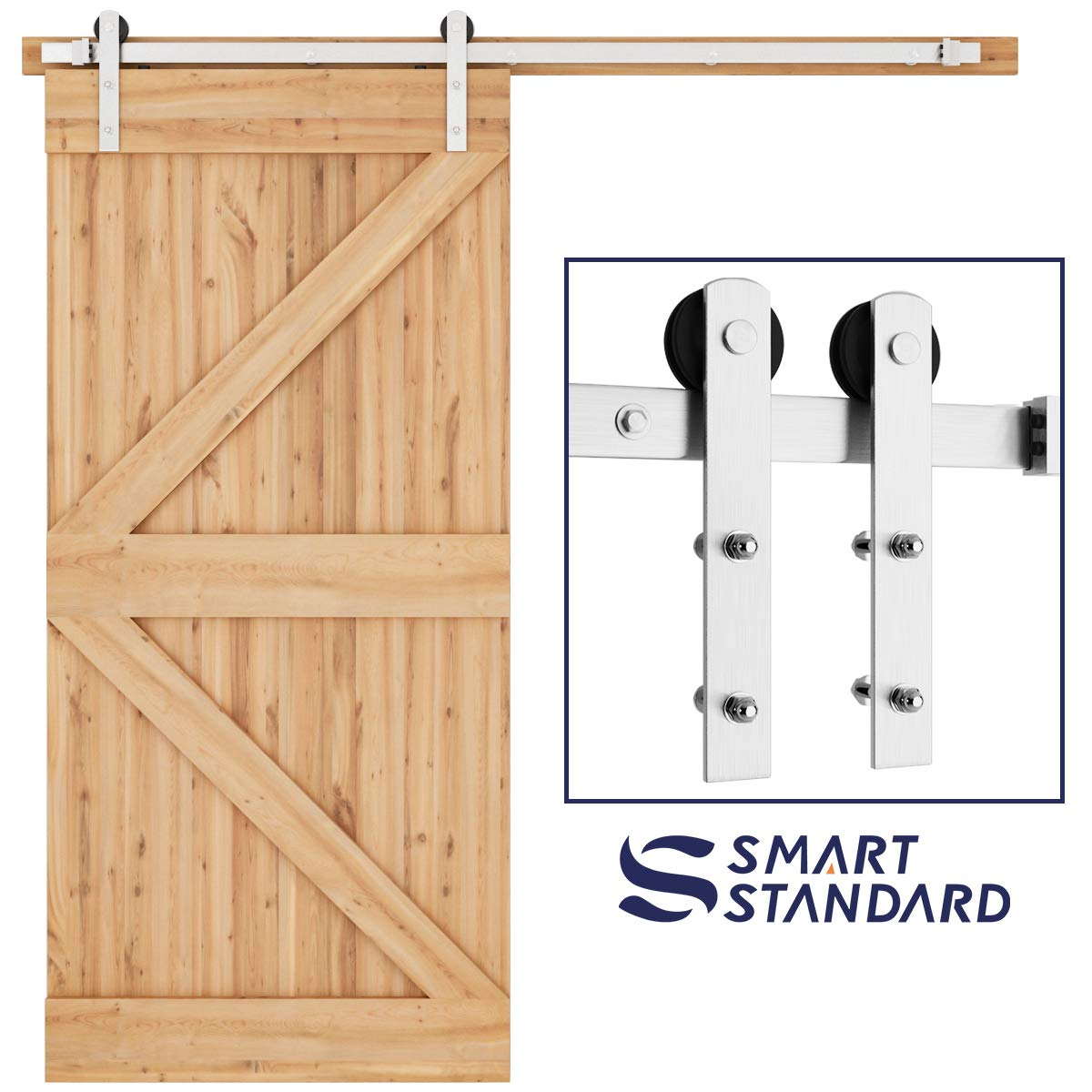 SMARTSTANDARD 6.6ft Nickel Brushed Heavy Duty Sliding Barn Door Hardware Kit, Single Rail, Silver, Super Smoothly and Quietly, Simple and Easy to Install, Fit 36''-40'' Wide DoorPanel (I Shape Hanger)
