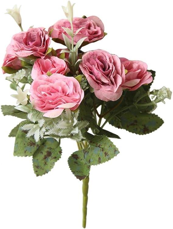 Tronet Fakes Plants Flower 8 Heads Artificial Fake Peony Silk Flower Bridal Hydrangea Home Wedding Decor