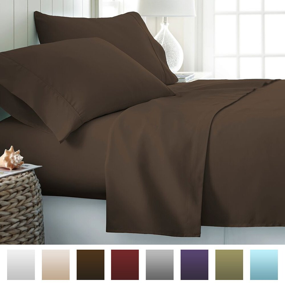 4 Piece Bed Sheet Set Deep Pocket - Queen - Chocolate