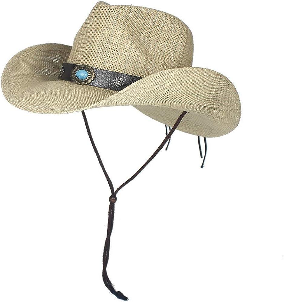 Men/'s Beach Sun Cap Outdoor Cowboy Hats Fashion Chapeu Straw Woven Cowboy Hats