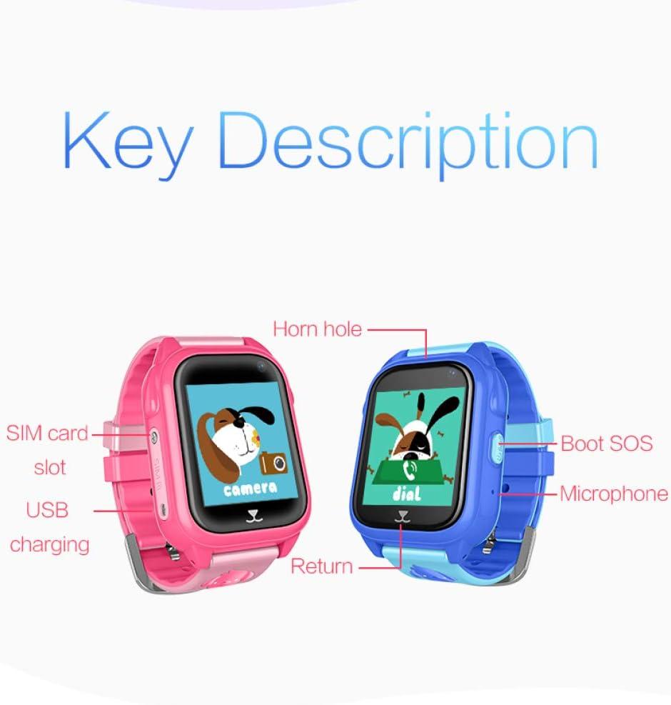 liangh Montre àécran Tactile,Montres Téléphone pour Enfants,GPS LED SOS Appel Bidirectionnel,Jeu pour Filles Garçons 3-12 Ans,Cadeau d'anniversaire pour Enfants,Pink Blue
