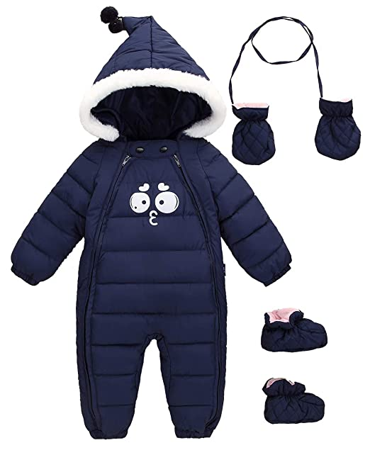 525b83b3e SUPEYA Baby Girls Boys Warm Hoodies Rompers Snowsuit Jumpsuit 3Pcs ...