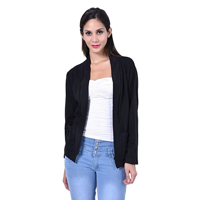 332a4ba79e21cc Teemoods Women s Cotton Full Sleeves Shrug with Pocket  Amazon.in ...