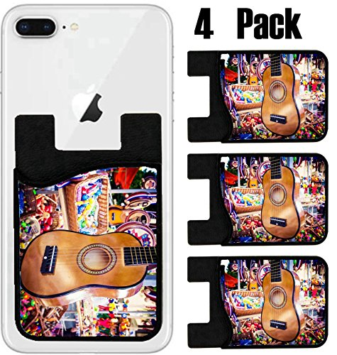 MSD Phone Card holder, sleeve/wallet for iPhone Samsung Android and all smartphones with removable microfiber screen cleaner Silicone card Caddy(4 Pack) IMAGE ID 28463988 Small guitar hanging on the s by MSD