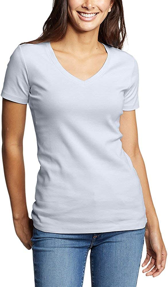 Eddie Bauer Womens Favorite Short-Sleeve V-Neck T-Shirt White Petite S Petite