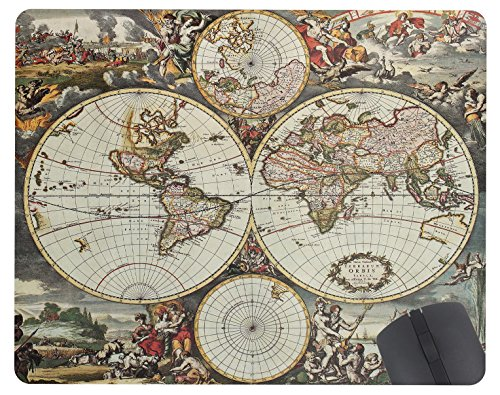 Old Map Of World Hemispheres Black And White Pattern 9 4In X 7 9In Personality Desings Gaming Mouse Pad Style