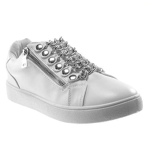 89426d9c3d7511 Angkorly - Damen Schuhe Sneaker - Tennis - Sporty chic - Kette - Nieten -  besetzt