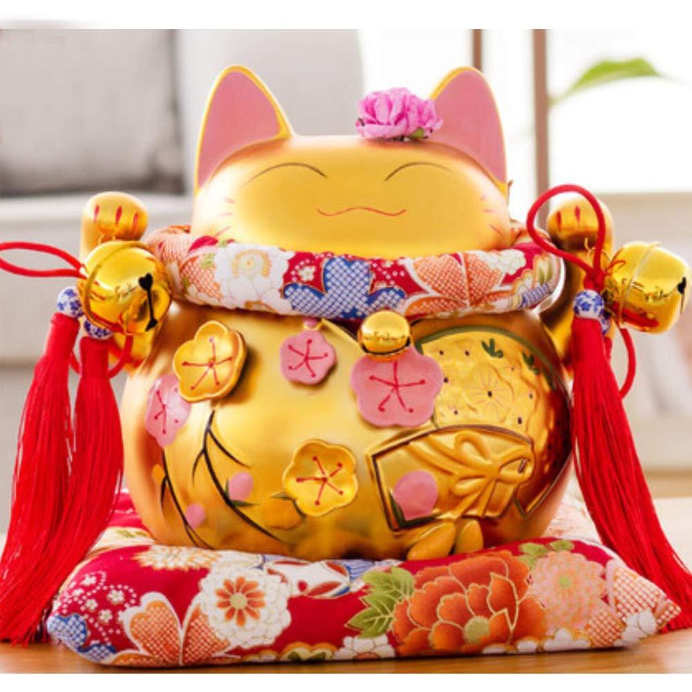 8'' Maneki Neko Japanese Porcelain Lucky Cat Money Box Piggy Bank Lucky Blessing #D
