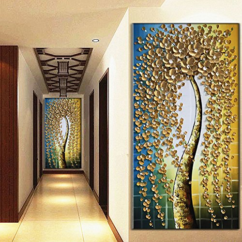 "Baccow 3D Gold Modern Abstract Tree Paintings, 2448"" Hand"