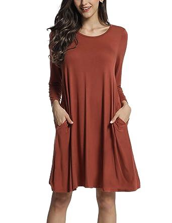 7d4519228b80 Azalosie T-Shirt Dress Long Sleeve Dress Plain Short Dress with Pockets  Loose Swing Shift