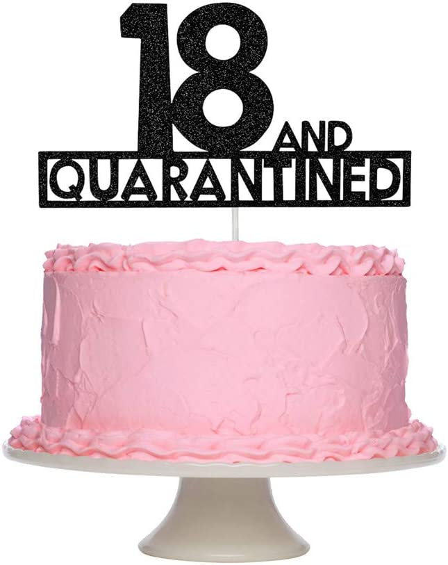 18 and Quarantined Birthday Cake Topper -18th Birthday Cake Party Decorations,Quarantined Birthday Cake Topper Decorations (Black Glitter)