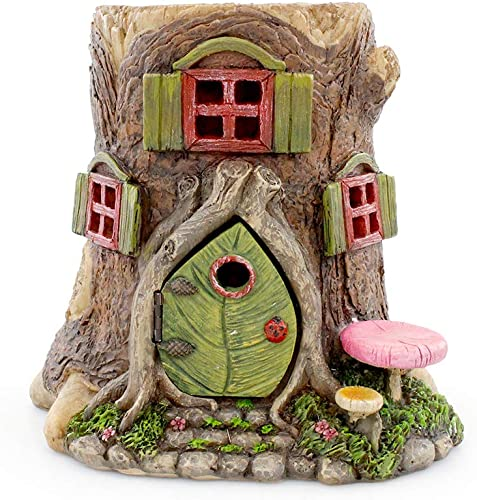 NW Wholesaler Fairy Garden Miniature Tree Stump House with Working Door – 6 Inch Fairy Garden Home Detailed Fairy Garden House with Working Door